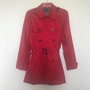 Forever 21 red trench coat in size large